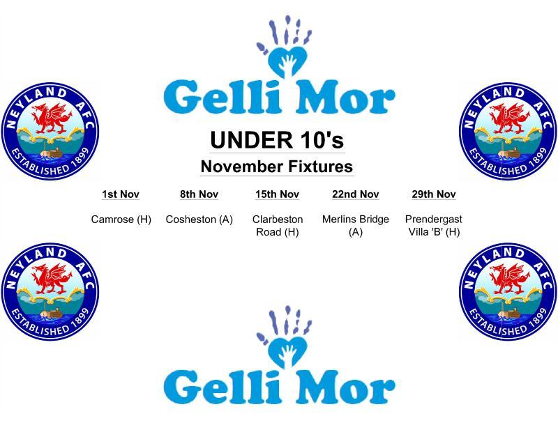 Under 10's Fixtures Monthly