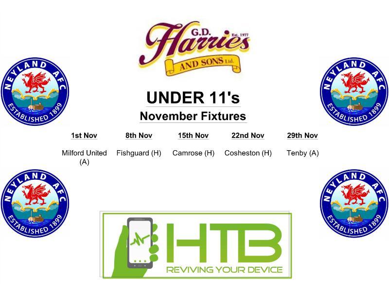 Under 11's Fixtures Monthly