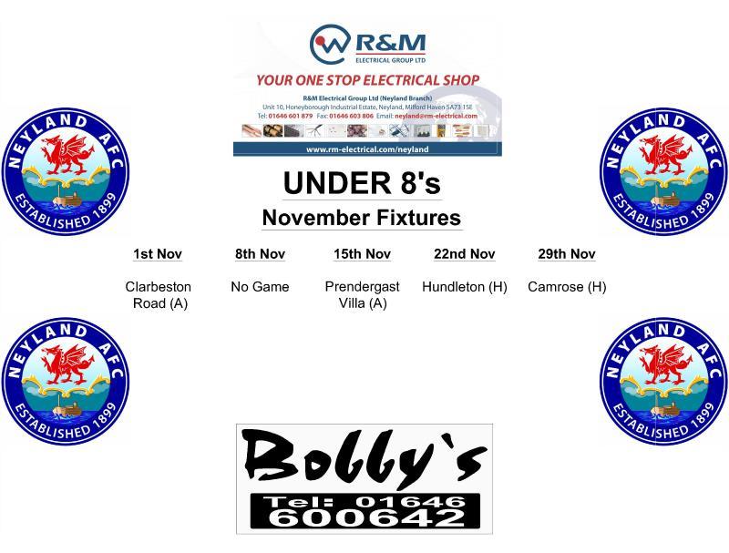 Under 8's Fixtures Monthly a