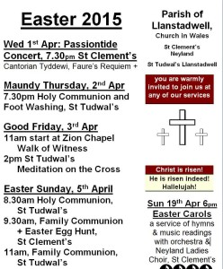 poster of Easter events in neyland and llanstadwell