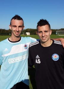 Scorers Nicky Koomen (left) and Justin Harding (wearing Andrew Smith's top).