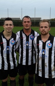 Nomad's goal scorers (L to R) Justin Harding, Wayne Vaughan-Parry, Gary Power